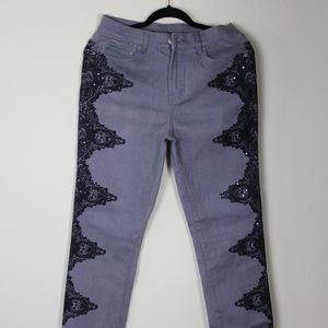 Diane Gilman grey jeans with lace.